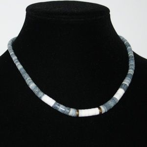 """Beautiful blue gold and shell vintage necklace 16"""""""